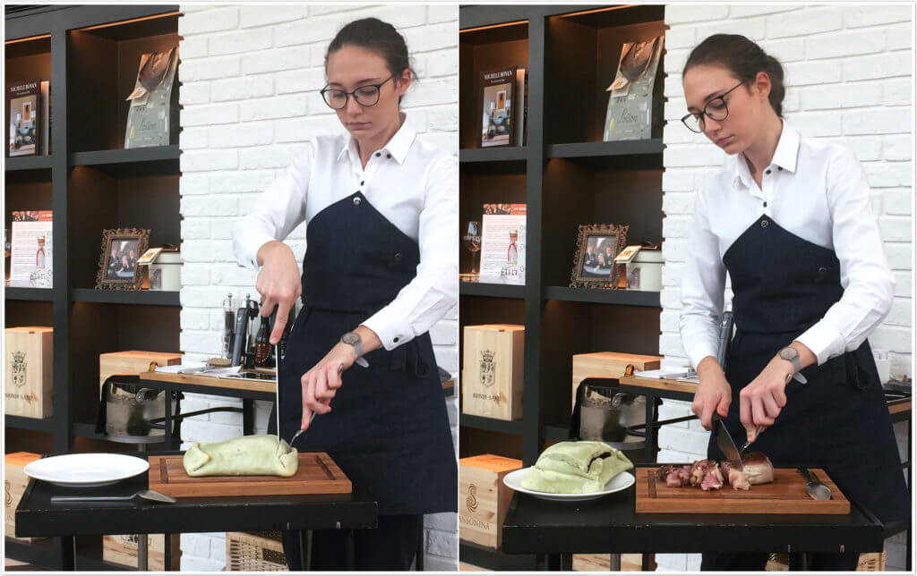 IL MERCATO鹽封烤牛排桌邊服務。(圖/吐司客拍攝)