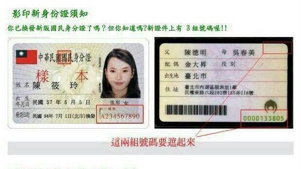 新版國民身分證背面有2組號碼,...