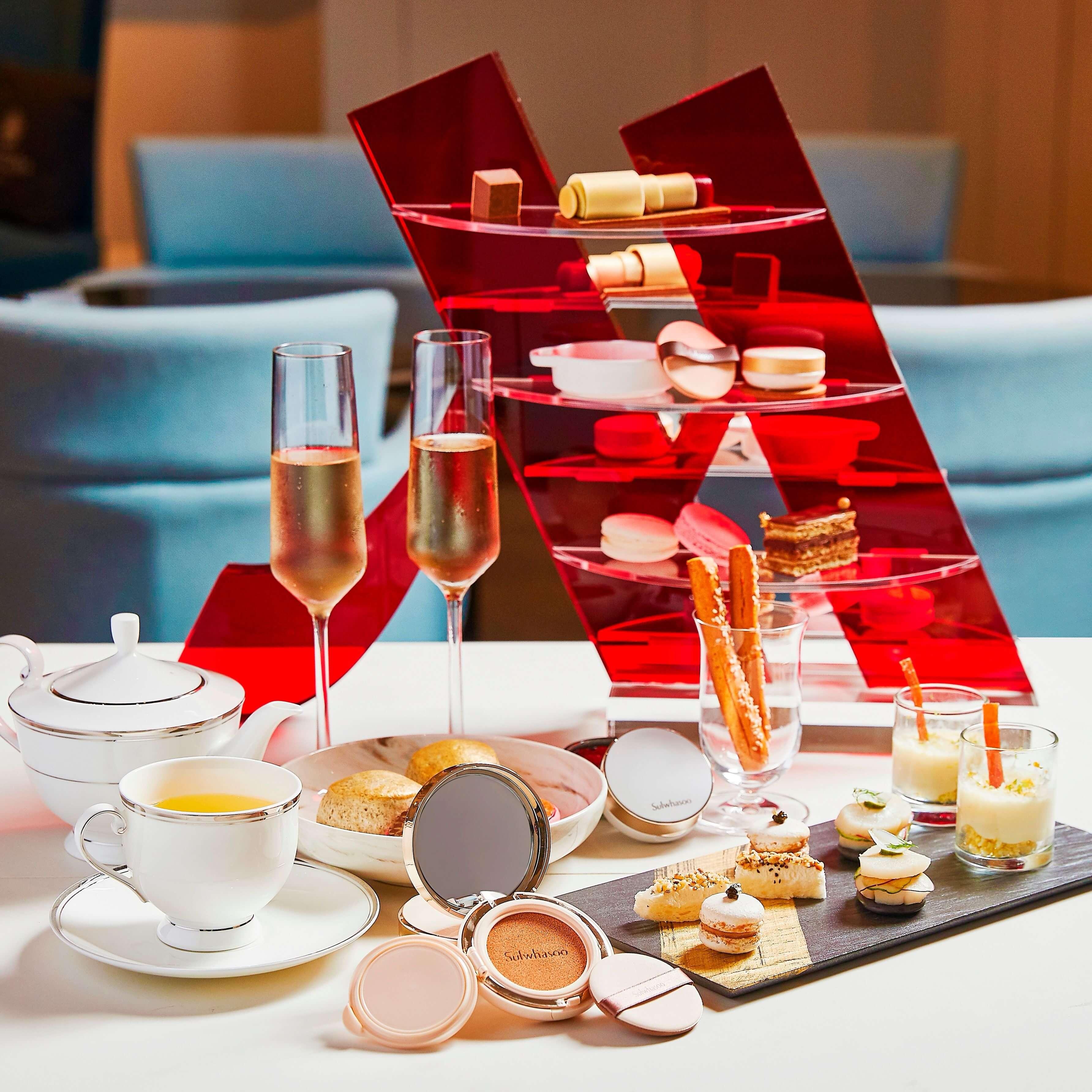 台北萬豪酒店Lobby Lounge x 雪花秀完美瓷肌下午茶。(圖/台北萬豪酒店提供)