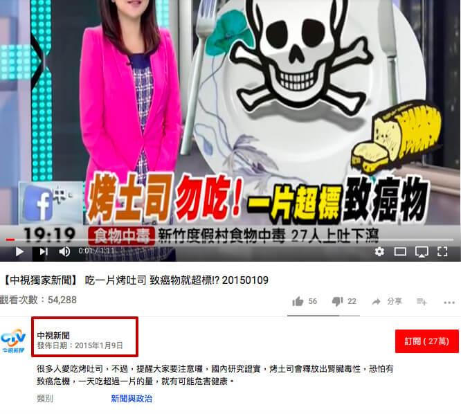 這則「吃一片烤吐司,致癌物就超標!?」的中視新聞是2015年1月9日發佈的。(圖/翻攝自Youtube)