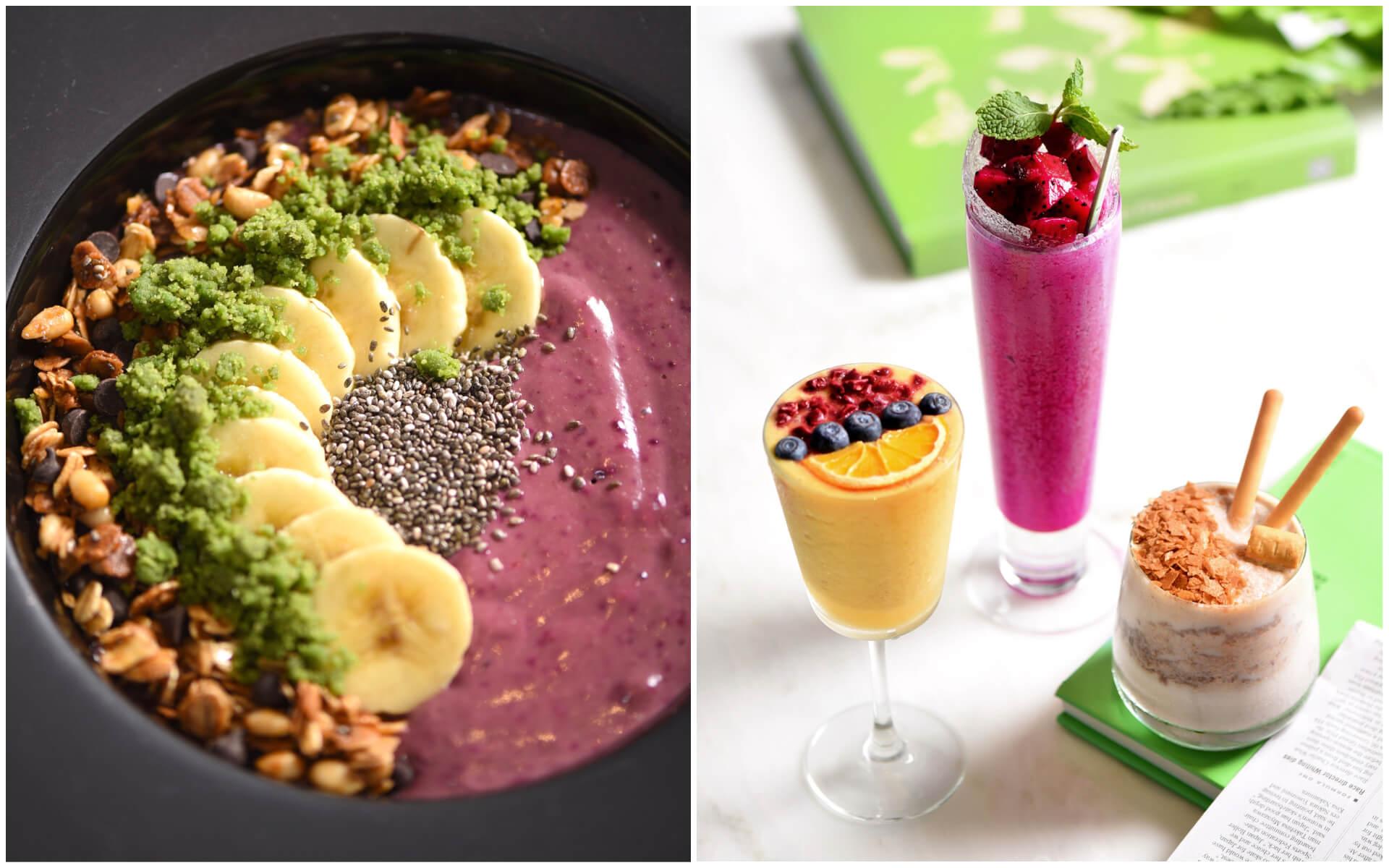綜合巴西莓果花生盅和三款「GOOD BITES輕食光」活力奶昔。(圖片/台北W飯店提供)